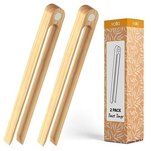 Pinzas de Cocina de Madera de bambú, Pinzas para tostar con