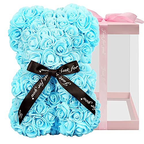 Rose Bear, Rose Teddy Bear, Rose Flower Bear ,Gifts for Women, Used for Valentine's Day, Mother's Day, Christmas, Birthday Gifts, Girlfriend Gifts, with 10 inch Transparent Gift Box (Blue)