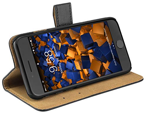 mumbi Echt Leder Bookstyle Hülle kompatibel mit iPhone SE 2 2020/7 / 8 Hülle Leder Tasche Hülle Wallet, schwarz