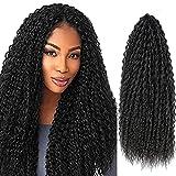 6Packs Synthetic Brazilian Braids Curly Crochet Hair For Black Women Super Long 30inch Kinky Curly Crochet Braids Hair Extensions (#1B,30inch)
