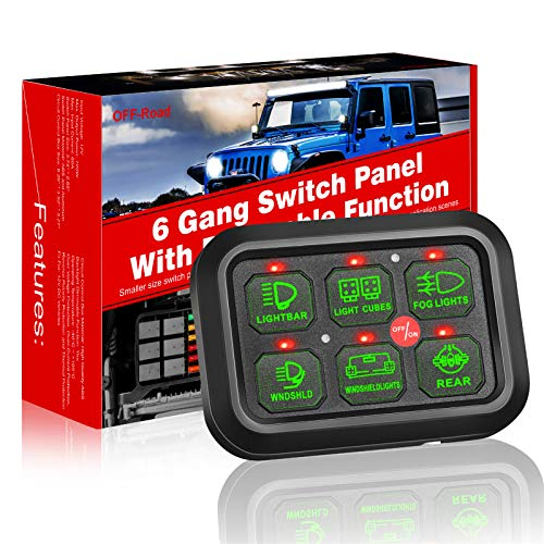 6 Gang Switch Panel Automatic Dimmable, Teochew-LED Universal 6 Gang Switch Box On/Off Button Switch Pod Electronic Relay System Circuit Control Box for Truck Boat Marine ATV UTV SUV Car