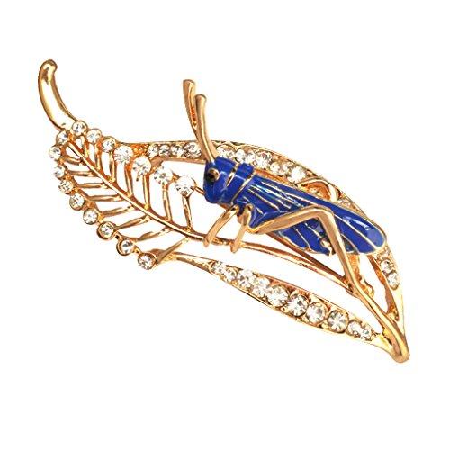 dailymall Unisex Chic Crystal Rhinestone Leaf Saltamontes Locust Cricket Pin Broche para Regalos de Fiesta - Azul