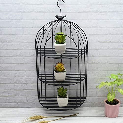 JKXWX Metalen Smeedijzeren Bloempot Plant Stand Creatieve Vintage Vogelkooi Muur Ornament Succulente Bloemenstandaard Wandplank, Zwart