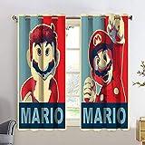 Cortina opaca para ventana, 2 paneles, Super Mario Super Mario Bros, aislante térmico, para dormitorio de los niños, 84 x 84 cm
