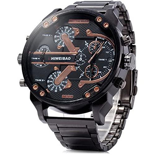 KLFJFD Reloj De Cuarzo Resistente Al Agua De Ocio con Movimiento De Esfera Grande con Calendario De Doble Movimiento para Hombres Reloj De Regalo De Moda