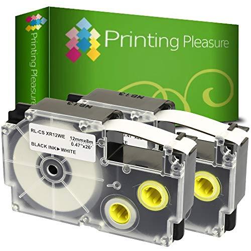 2x Compatibile XR-12WE Nero su Bianco (12mm x 8m) Cassetta Nastro per CasioKL-60 70E 100 100E 120 200 200E 300 750 780 820 2000 7000 7200 7400 8100 8200 P1000 C500 L300