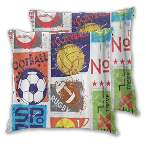 YAOAYAOE Fundas de Cojín Paquete de 2, Deporte para diseño Original con Pelota Fútbol Baloncesto Tenis Rugby para niños,Decorativa Impreso Caso de Almohada Cuadrado Fundas de Almohada para Sofá Coche