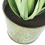 artplants.de Deko Yucca Busch mit 45 Blättern, Metalltopf, hellgrün, 80cm - Pflanze künstlich - Plastik Palme getopft - 2
