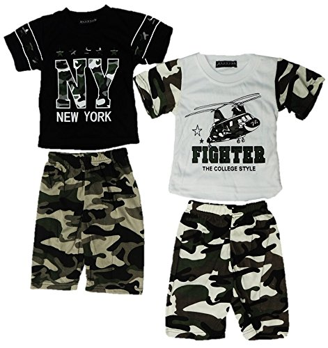Onbekend 2-pack baby jongens 2-delig pak shirt + broek maat 68-86 camouflage