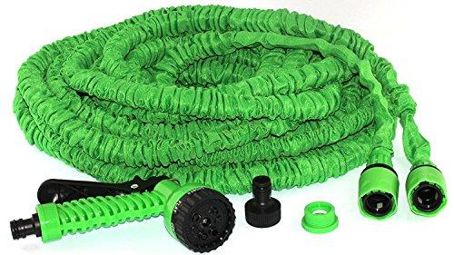 Tuyau de jardin Tivoli / 100FT/30 m Flexible Extensible Boyau de jardin / raccords de flexible en laiton massif / Pistolet / Couleur : Vert