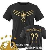 Comedy Shirts - WM 2014 - Deutschland - Deluxe F1-VH-Wunsch - Kinder T-Shirt - Schwarz/Gold Gr. 122-128