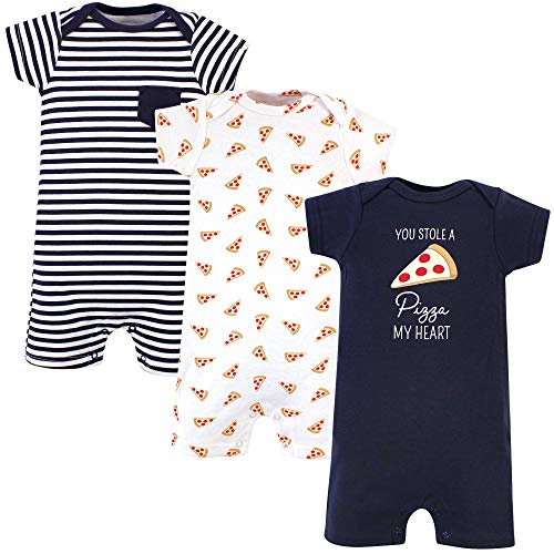 Hudson Baby Unisex Cotton Rompers, Pizza, 9-12 Months