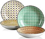 vancasso Tulip Set di Piatti Fondi 4 Pezzi in Porcellana Piatto da Zuppa Stile Morocco ø 21 cm