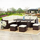 Wisteria Lane Patio Furniture Set,10 PCS Outdoor Conversation Set All Weather Wicker Sectional Sofa Couch Dining Table Chair with Ottoman