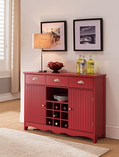 Kings Brand Furniture Buffet Server Console Table with Wine Storage, Red Finish
