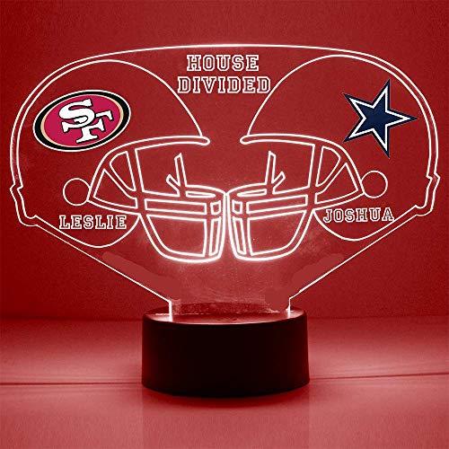 49ers (San Fransisco) vs Cowboys (Dallas) Football Helmet Sports Fan Lamp/Night Light -