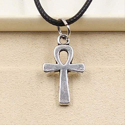 ZHIFUBA Co.,Ltd Collar Nuevo Duradero de imitación de Cuero Negro Anka Cruz egipcia Ankh símbolo de la Vida Colgante Gargantilla Encanto DIY Collar joyería