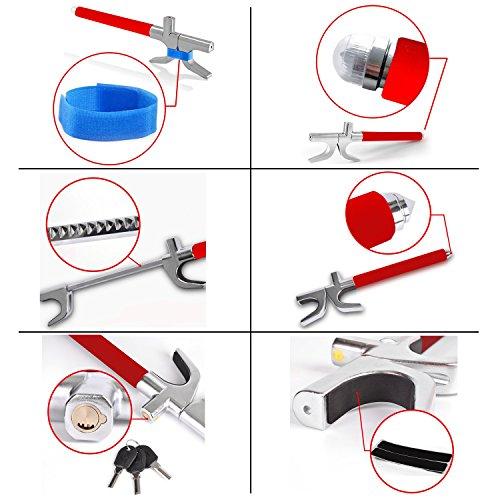Tevlaphee Steering Wheel Lock for Cars,Wheel Lock,Vehicle Anti-Theft Lock,Adjustable Length Clamp Double Hook Universal Fit Emergency Hammer Window Breaker Self Defense Heavy Duty Secure (Red)