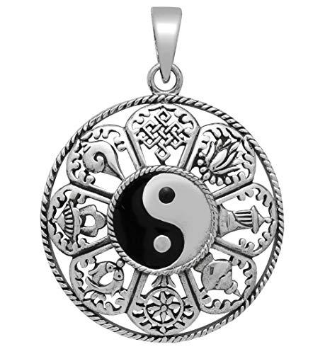 Yin Yang Anhänger Buddha mit 8 Symbolen 925 Sterling Silber Kettenanhänger für Damen und Herren (30mm)