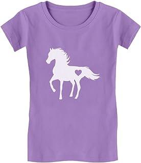 Tstars - Gift for Horse Lover Love Horses Toddler/Kids Girls' Fitted T-Shirt
