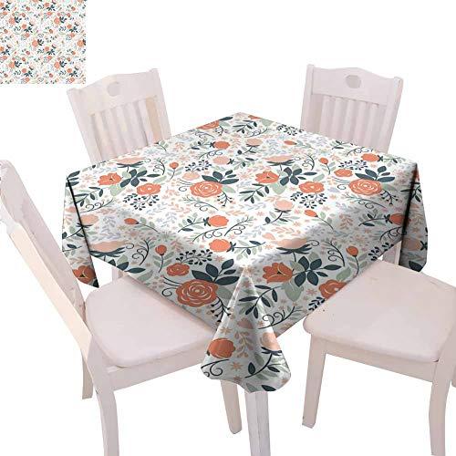 Mantel cuadrado floral al aire libre Shabby Blooms Nature Inspirado elegante ilustración de belleza botánica decoración del restaurante, 160 x 160 cm, salmón melocotón almendra verde