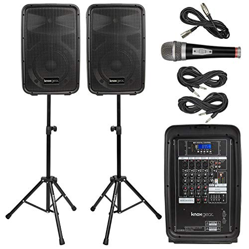 Knox Dual Speaker and Mixer Kit  Portable 8 300 Watt DJ PA System with Wired Microphone, and Tripods  8 Channel Amplifier - Bluetooth, USB, SD, 1/4 Line RCA, XLR Inputs