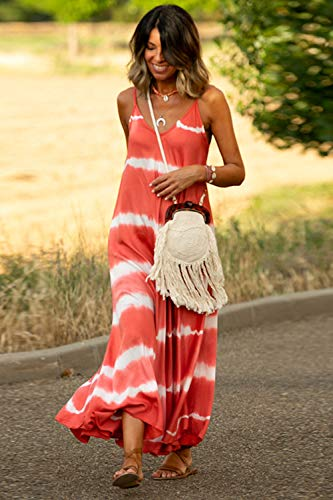 Vestidos Mujer Casual Playa Largos Verano Tie Dye Vestido Boho Sin Mangas Maxi Vestido Tirantes Playa Verano Rojo XL