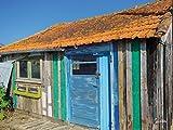Cuadro de pared XXL de 80 x 60 cm, diseño de cabaña de pescador en el mar