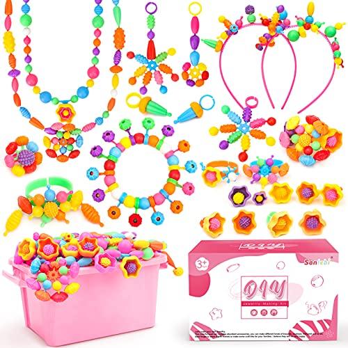 Sanlebi Pop Beads - Manualidades Pulseras para Niñas 3 4 5 años, 650+ Piezas Hacer Pulseras Niñas Juguetes Regalo para 3-8 Años Niños