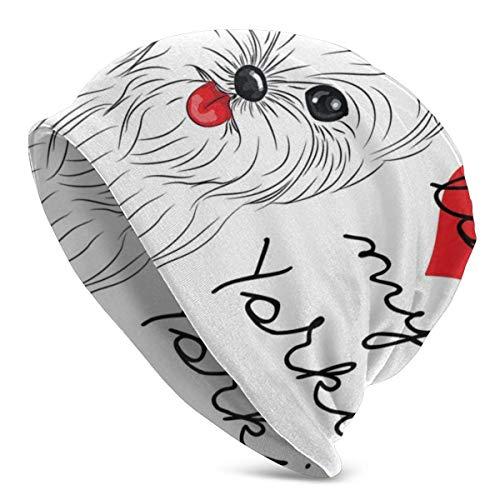 Valender Beanie Hombres Mujeres - Love My Yorkie Cute Terrier con su Tounge out Adorable Yorkshire Terrier - Gorra Unisex con puños Lisos de Punto de Calavera
