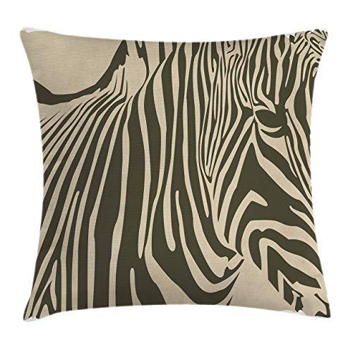 Zebra Print Dekokissen Kissenbezug, Zebra Silhouette Stripped Horse Monochrom ZooCreatur, Green Tan