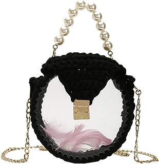 GSERA Damenmode Handgewebte Tasche DIY Gewebte Umhängetasche Wild Ladies Messenger Hochzeit Circular Crossbody Pearl Runde...