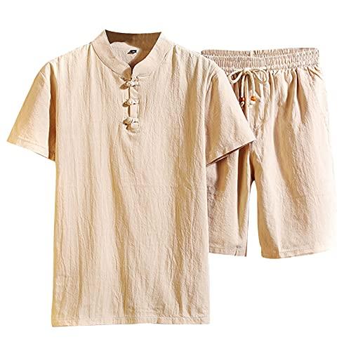 Hffan Hosen Herren Shorts Neu-Männer Vintage Baumwolle Leinen Kurzarm T Shirt Shorts Set Pyjama Shorts Kurze Hose Freizeithose Sweatpants Strandshorts
