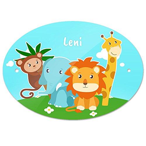 Türschild mit Namen Leni und schönem Tier-Motiv mit AFFE, Elefant, Löwe und Giraffe für Mädchen | Kinderzimmer-Schild
