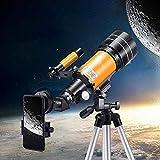 Telescopio monocular 30070 con trípode ajustable adaptador de teléfono para observar la luna, soporte alto profesional, alta definición de aumento para niños y principiantes