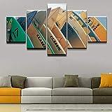 FFFZDCKAY Bilder 5-teilig Leinwandbilder Leinwandbilder Home Wandkunst Dekor HD Prints Poster Sport Surfboard Gemälde Für Wohnzimmer Rahmenlos