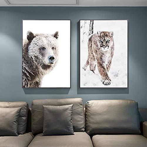 ganlanshu Tierische Tigerbärkunstwanddruck-Leinwandmalerei skandinavische Hauptdekoration,Rahmenlose Malerei,40X53cmx2