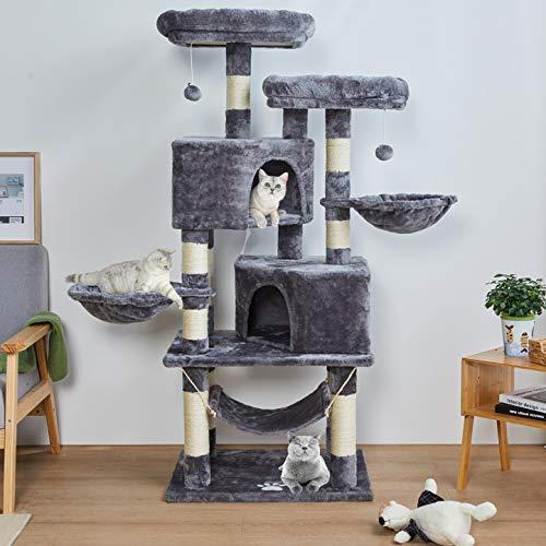 MSmask 145cm Kratzbaum Kletterbaum Stabil Mehrere Ebenen Plattform für Grosse Katzen mit groß Höhle, Sisal-Stämme, Natur Sisal Katzenkratzbaum (hellgrau)