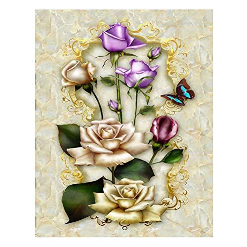 LIOOBO 5D DIY Diamant Plein Peinture, Peinture au diamant Rose Motif Croix Broderie Peinture par Diamond Home Ornements Z314