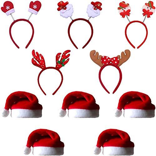 COSORO 5Pcs Unisex Babbo Natale Cappelli 40 x 30 cm Cappello da Babbo Natale e 5Pcs Testa di Natale Boppers Fasce di...