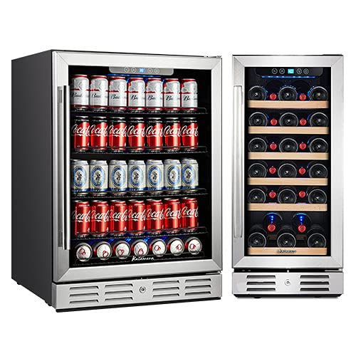 Kalamera 15-24 inch 154 Can 30 Bottle Capacity Beverage Cooler - Built in Counter or Freestanding - for Soda, Water, Beer or Wine - For Kitchen or Bar with Blue Interior Light