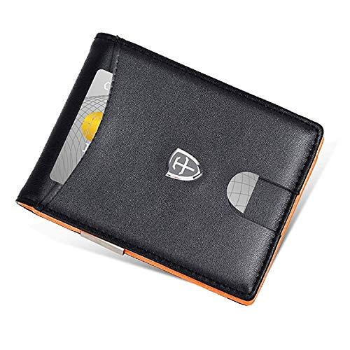 FANDINIER Portafoglio Uomo Vera Pelle con Protezione RFID | Porta Carte Di Credito | Clip Fermasoldi | Finestra di ID | Portamonete Sottile Con Cerniera | con Confezione Regalo (Nero e Arancione)
