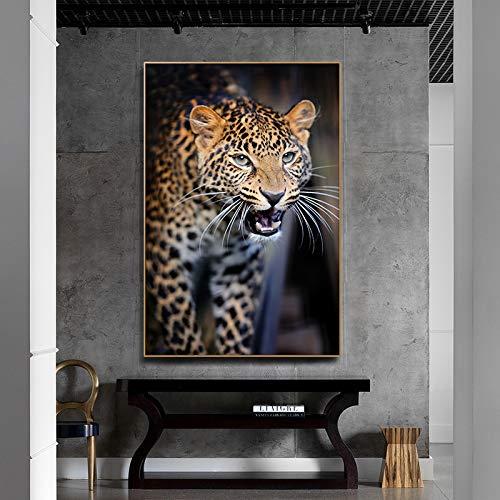 GJQFJBS Wildtier Wolf Schwarzweiß Leinwanddruck Bild Poster Moderne Wandkunst Wohnzimmer Wandbild A4 60x90cm