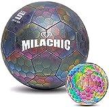MARIJEE Balones de Fútbol LED Reflectantes Brillantes, Balón de Fútbol Holográfico Reflectante Brillante Fútbol Tradicional Que Brilla en la Oscuridad Fútbol de Noche Brillante para Exteriores