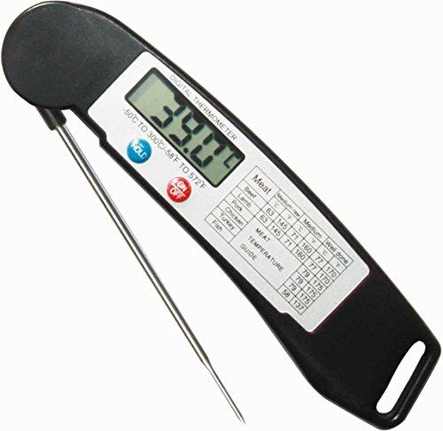 BATTERIA INCLUSA - MIGLIORE Termometro istantaneo, da cucina per carni digitale portatile, per interni ed esterni con & probe. accuratamente adatto anche per Grill sensore di temperatura ambiente da SunrisePro nero