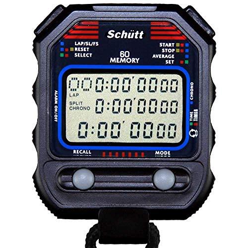 Schütt Stoppuhr PC-90 (60 Memory Speicher | Uhrzeit & Datum | Dualtimer) - Digital Profi Stoppuhr mit Druckpunktmechanik | spritzwasserfest |Trainer