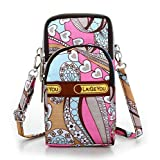 Fashion Sports Shoulder Bag Mini Wrist Purse Armband Bag Universal Phone Holder Pouch Case for iPhone/Samsung/LG/Moto/Black Berry/Sony/HTC/Nexus/Nokia/Lumia/Huawei and So on. (Pink Flower)