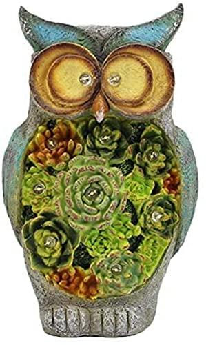 Bedspread Adorno de Estatua de búho de jardín, Escultura de Resina Impermeable con lámpara de energía Solar, decoración de luz, Regalo para jardín, césped, decoración al Aire Libre