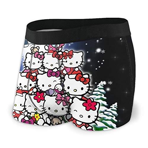 Cartoon Hello Kitty Uomo Intimo Stretch Boxer Slip per gli Uomini Gamba Corta Mutande Traspirante Confortevole Fibra Pack Nero  S
