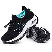 Women's Walking Shoes Sock Sneakers - Mesh Slip On Air Cushion Lady Girls Modern Jazz Dance Easy Shoes Platform Loafers Cyan&Black,6.5